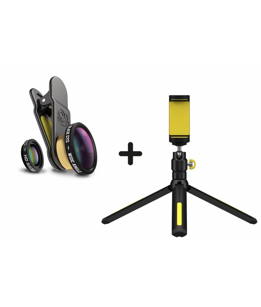 Black Eye Filming Handle Tripod + HD Combo Smartphone Lens