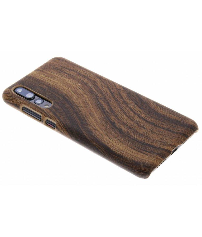 Donkerbruin hout design hardcase hoesje Huawei P20 Pro