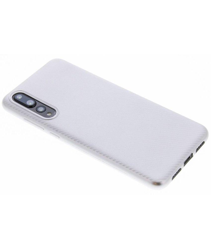 Zilver Carbon siliconen hoesje Huawei P20 Pro