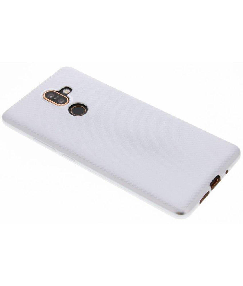 Zilver Carbon siliconen hoesje Nokia 7 Plus