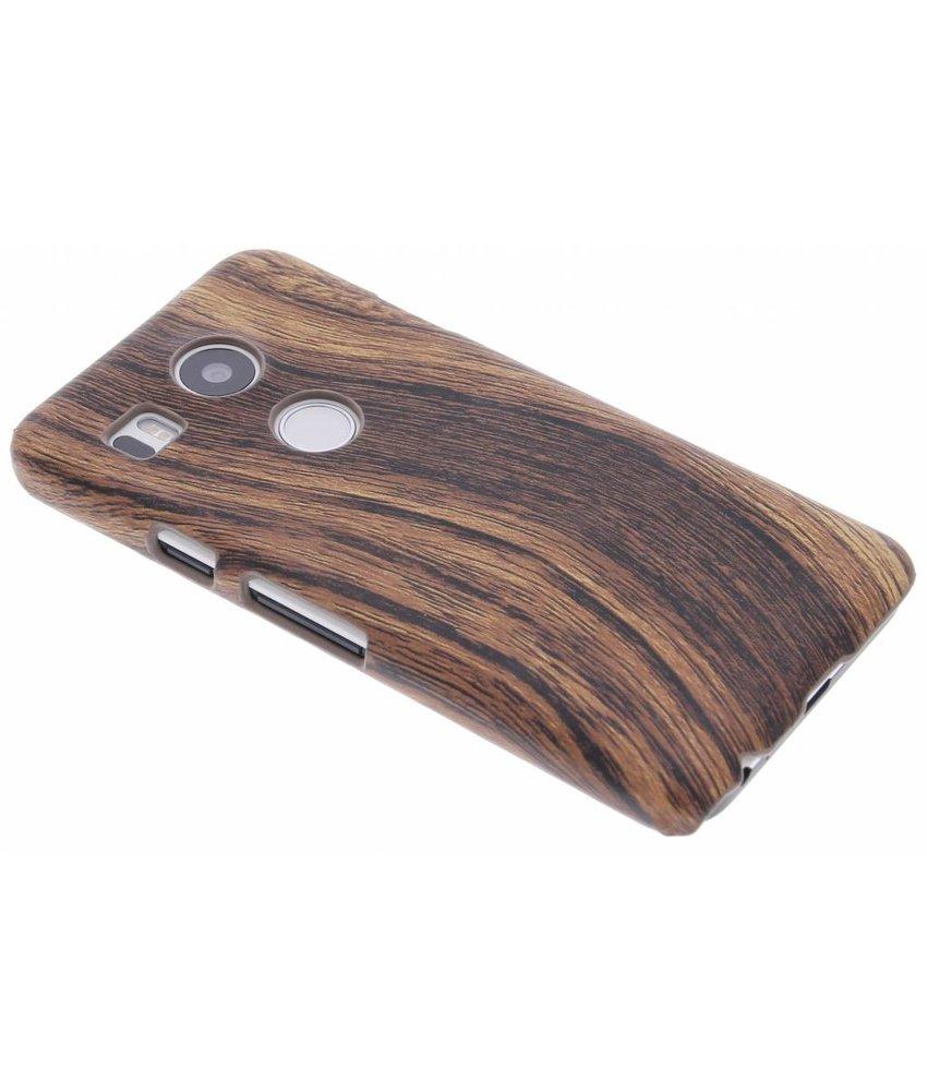 Donkerbruin hout design hardcase hoesje LG Nexus 5X