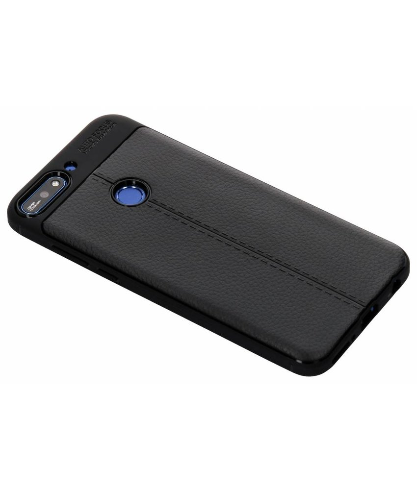 Lederen Backcover met stiksel Huawei Y7 (2018)