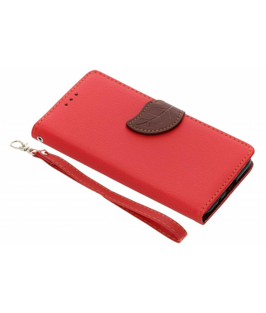 Rood Blad design TPU booktype hoes Huawei Y5 (2018)