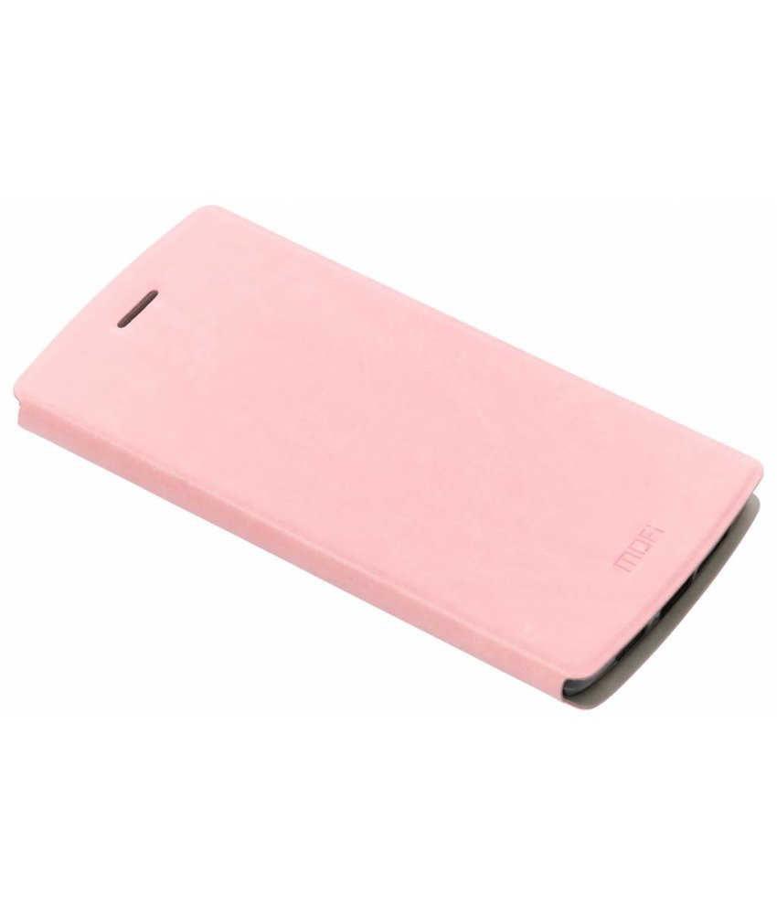 Roze Gladde booktype hoes OnePlus One