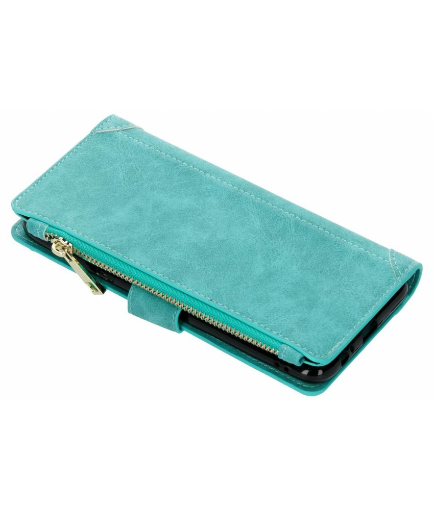 Turquoise Luxe portemonnee hoes Galaxy A6 Plus (2018)