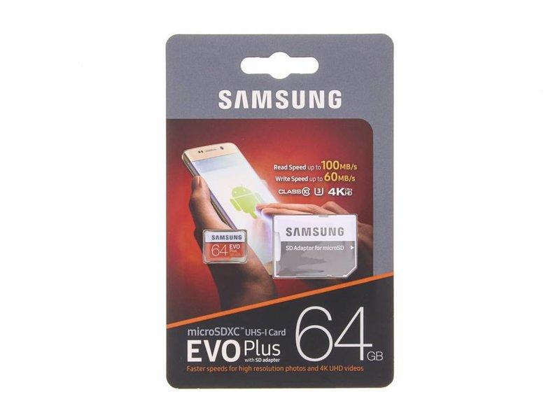 Samsung 64GB EVO Plus microSDXC geheugenkaart klasse 10 + adapter
