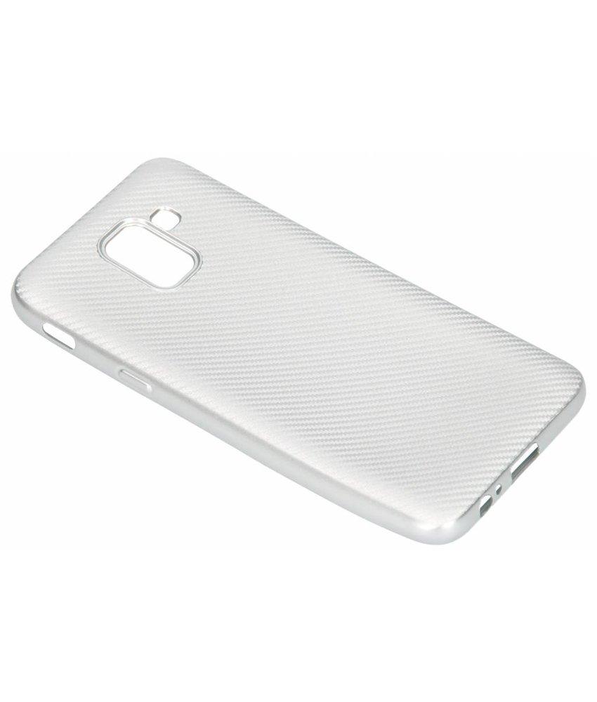 Zilver Carbon siliconen hoesje Samsung Galaxy J6