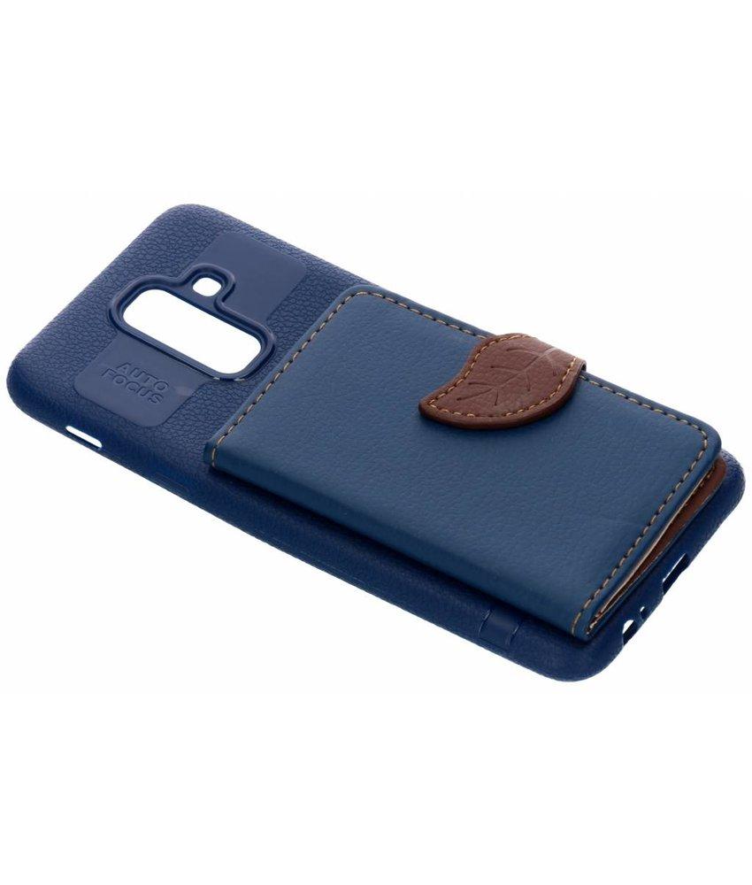 Blauw blad design TPU hoesje Samsung Galaxy A6 Plus (2018)