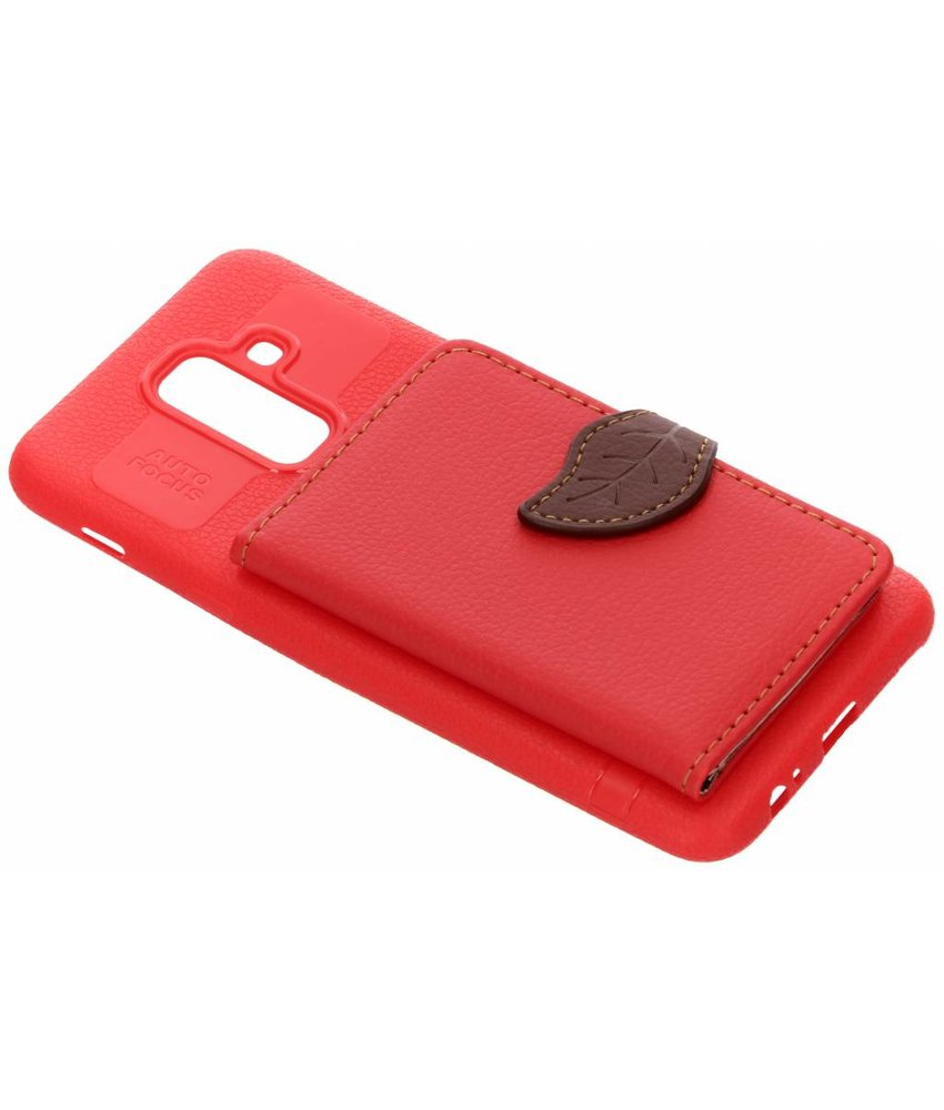 Rood blad design TPU hoesje Samsung Galaxy A6 Plus (2018)