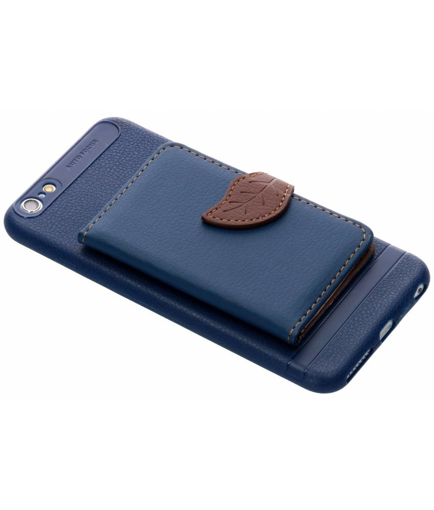 Blauw blad design TPU hoesje iPhone 6(s) Plus