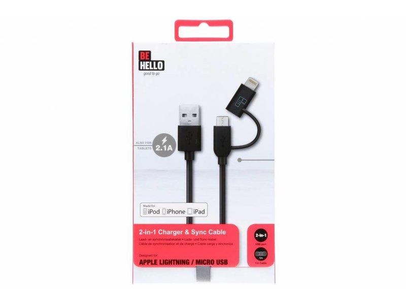 Be Hello Zwarte Micro-USB naar USB kabel met Lightning connector - 1 meter