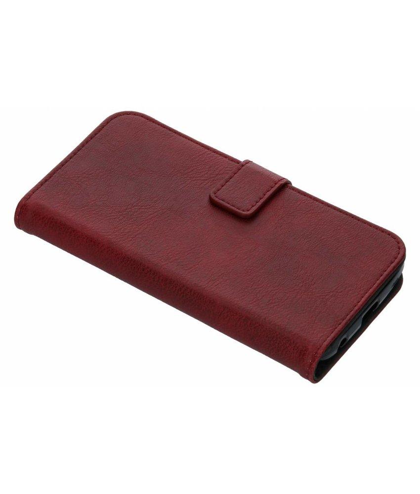 Rood luxe leder booktype hoes Motorola Moto G6