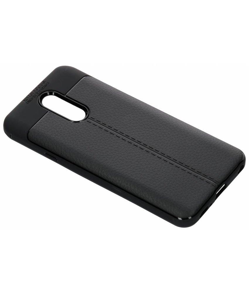 Zwart lederen siliconen case LG Q7