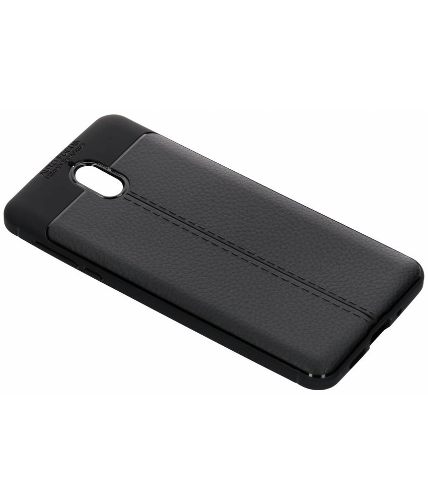 Zwart lederen siliconen case Nokia 3 (2018)