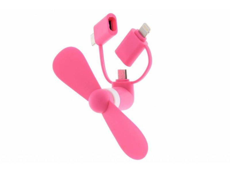Roze ventilator voor smartphones USB-C, Micro-USB & Lightning