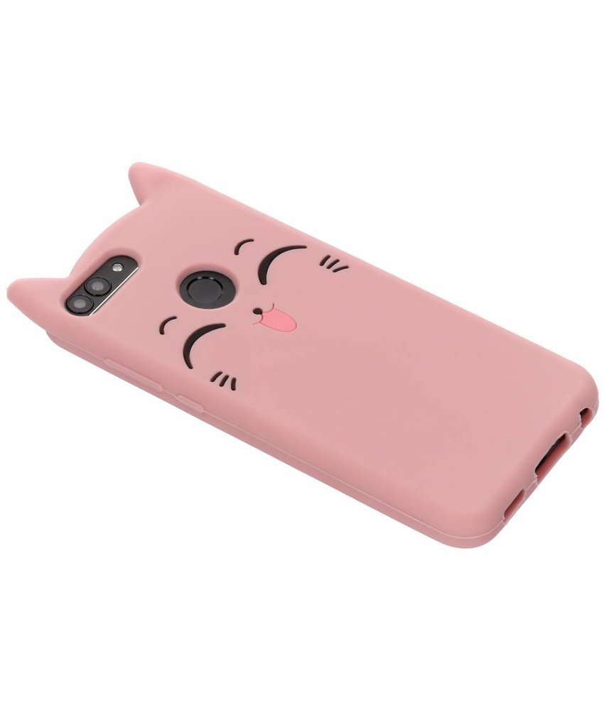 Roze kitten siliconen hoesje Huawei P Smart
