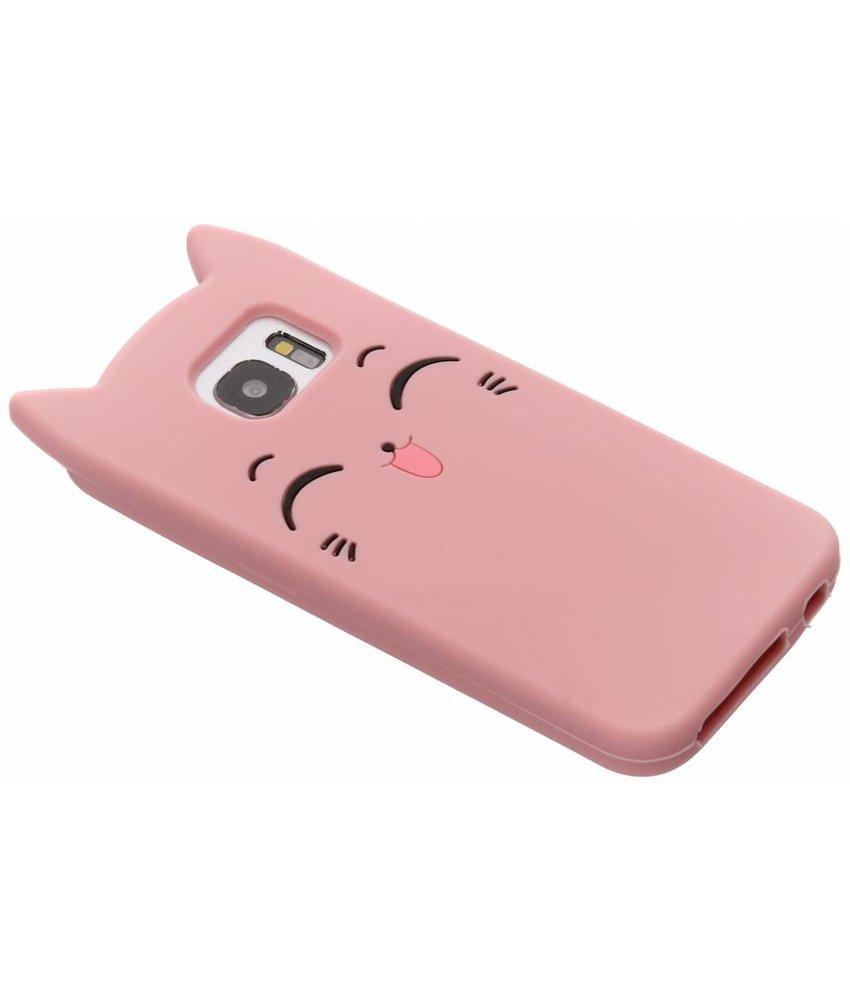 Roze kitten siliconen hoesje Samsung Galaxy S7