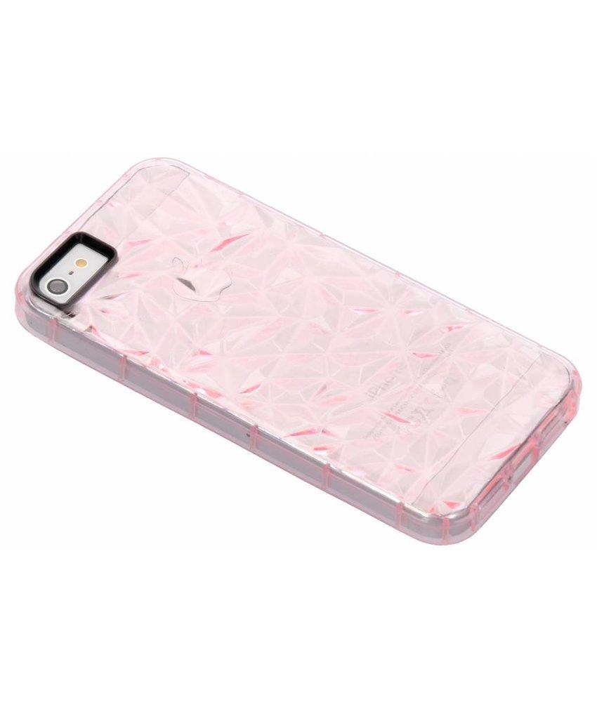 Roze geometric style siliconen case iPhone 5 / 5s / SE