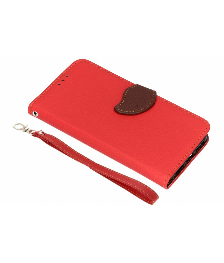 Rood blad design TPU booktype hoes iPhone Xr