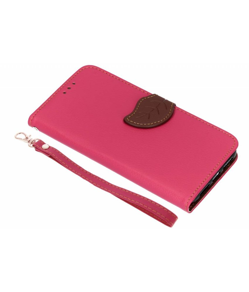 Fuchsia blad design TPU booktype hoes iPhone Xr
