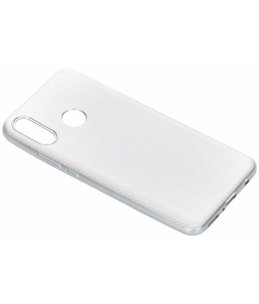 Zilver carbon siliconen hoesje Huawei Nova 3