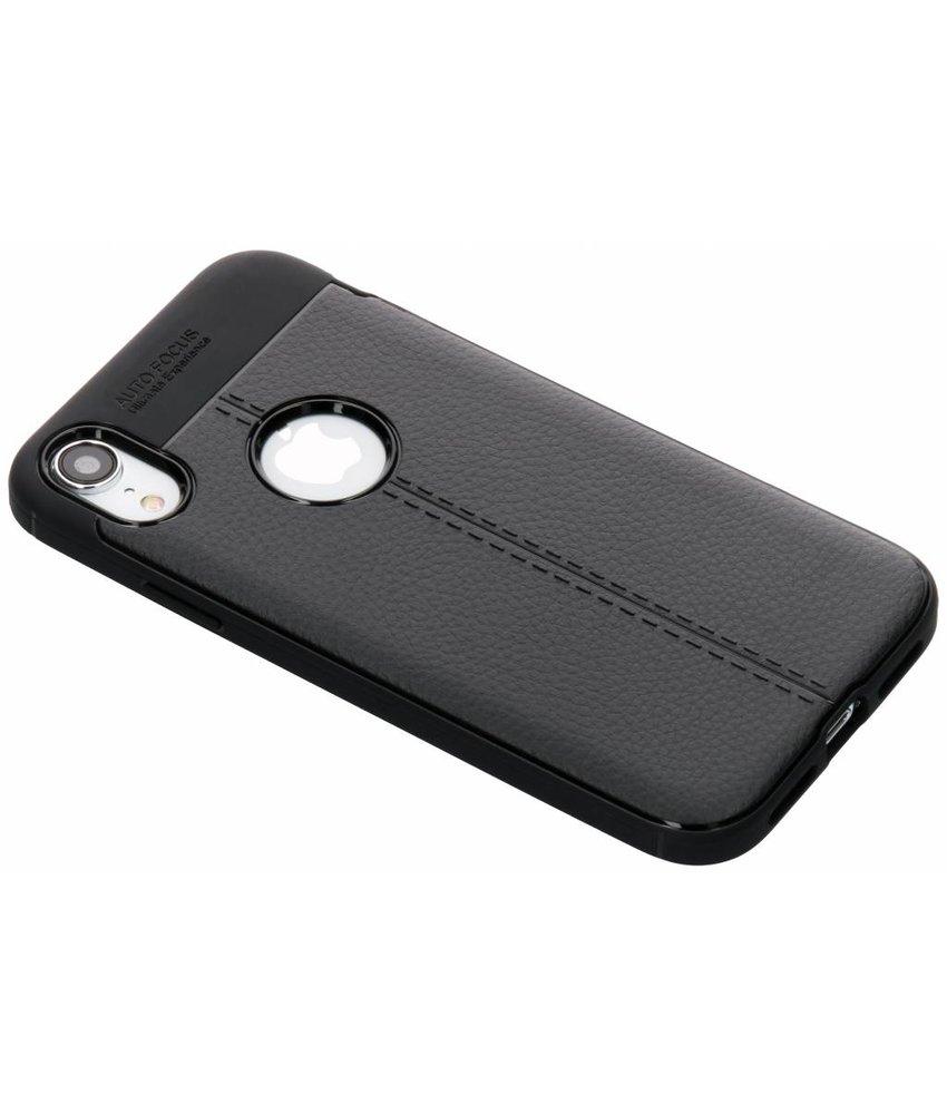 Zwart lederen siliconen case iPhone Xr