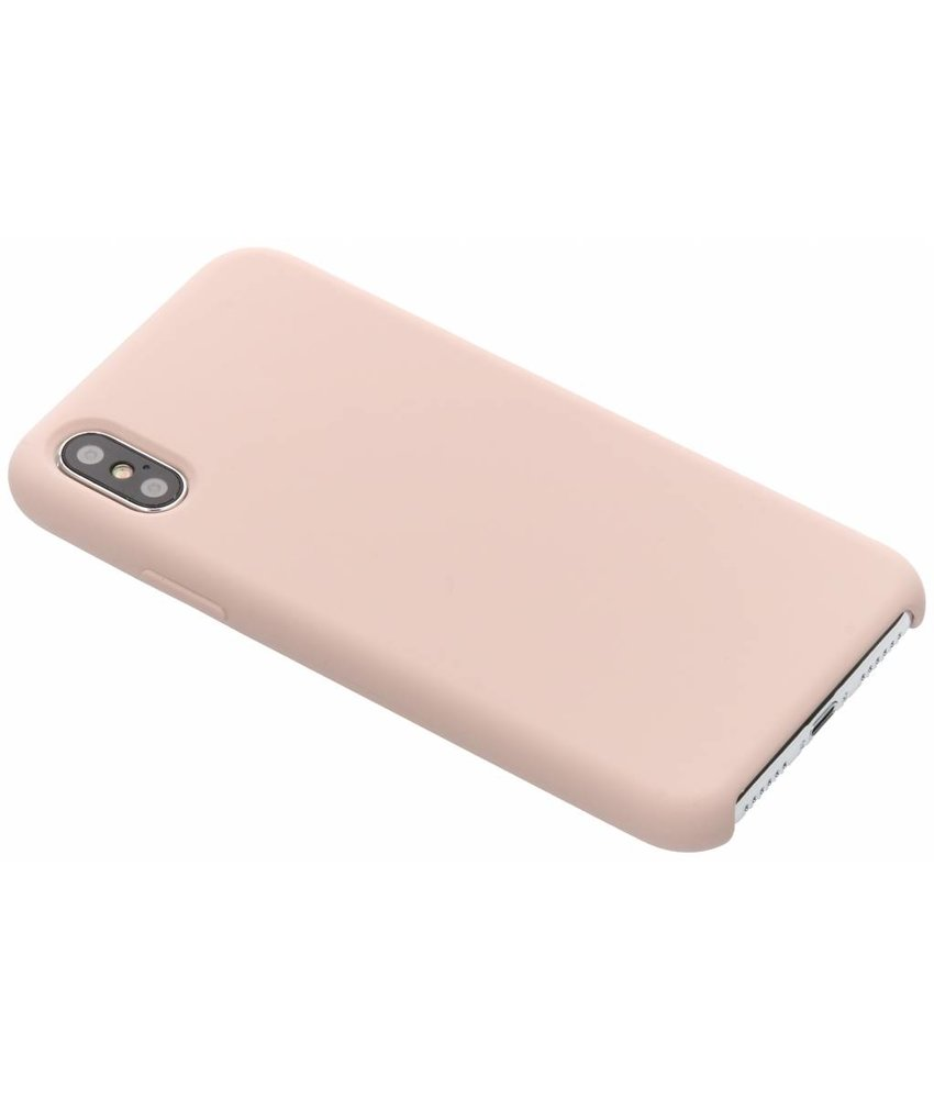 Roze soft touch siliconen case iPhone Xs / X