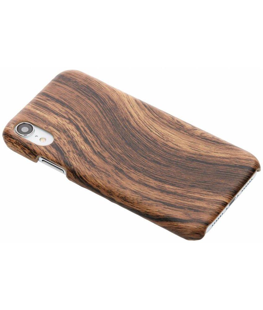 Donkerbruin hout design hardcase hoesje iPhone Xr