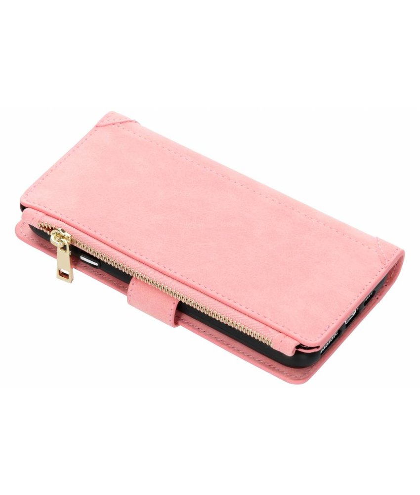 Roze luxe portemonnee hoes iPhone Xs Max