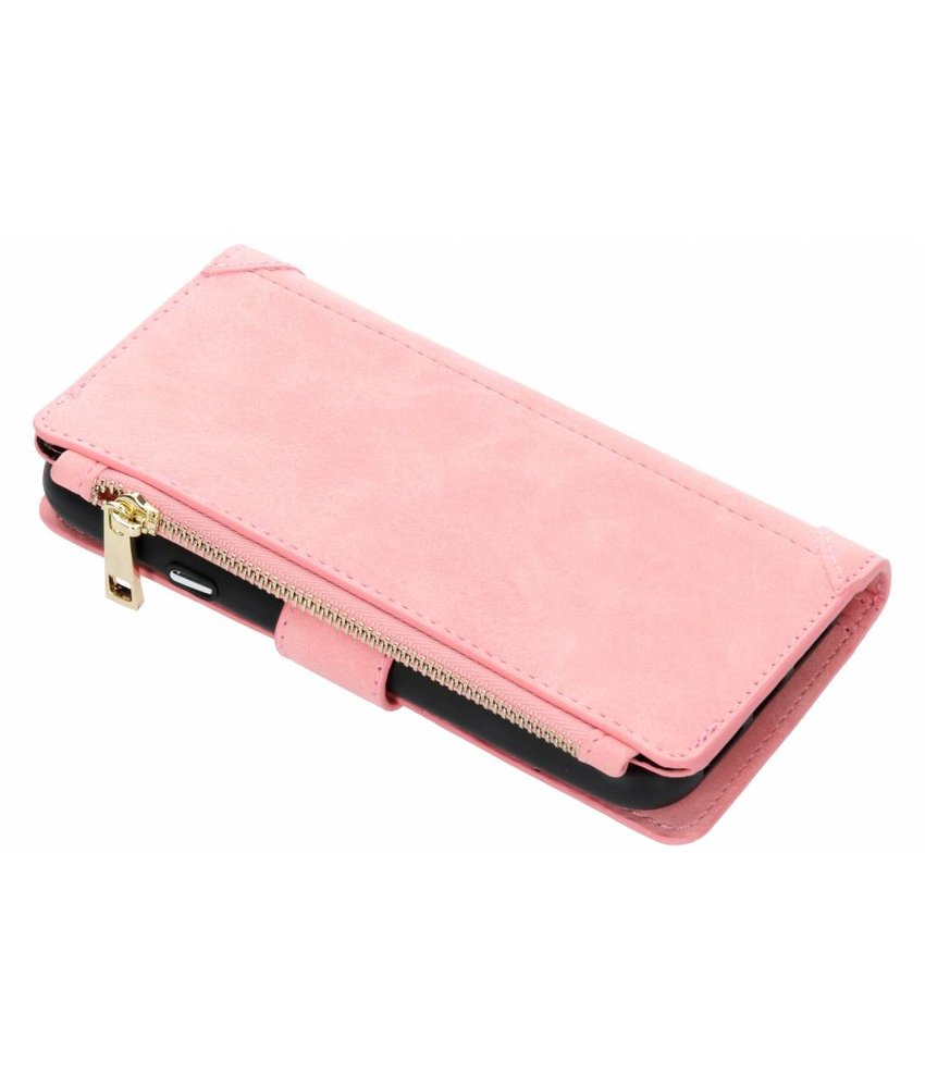 Roze luxe portemonnee hoes iPhone Xr