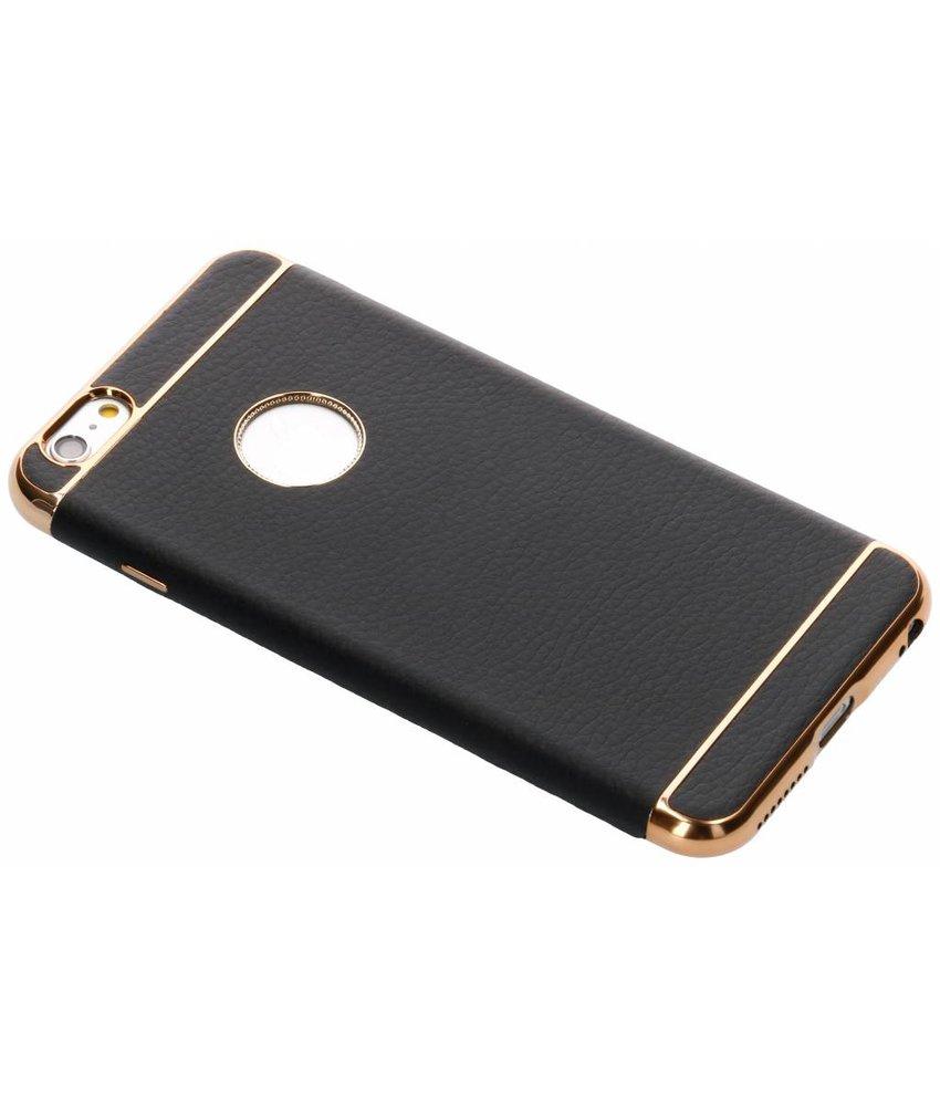 Zwart luxe lederen siliconen case iPhone 6(s) Plus
