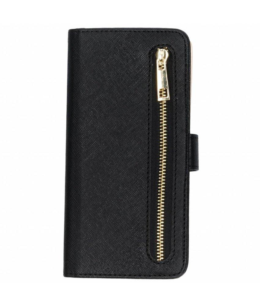 Zwart luxe booktype met rits Huawei Mate 20 Lite