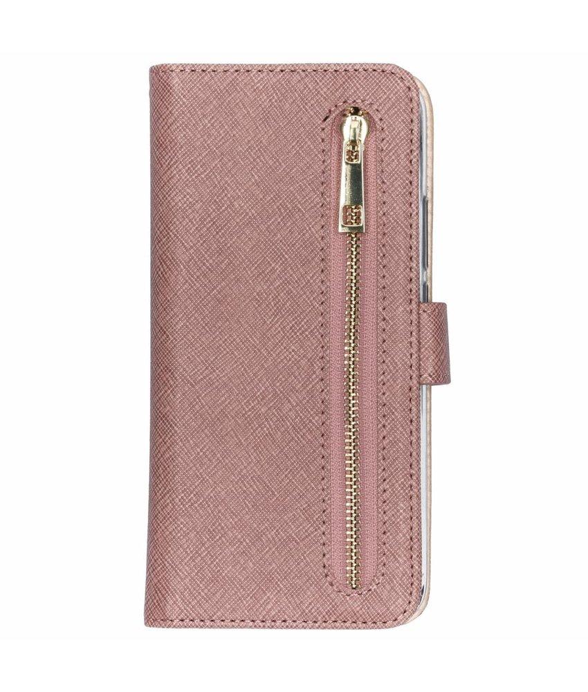 Roze luxe booktype met rits Huawei Mate 20 Lite