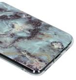Blauw marmer design siliconen hoesje voor de Huawei Mate 20 Lite