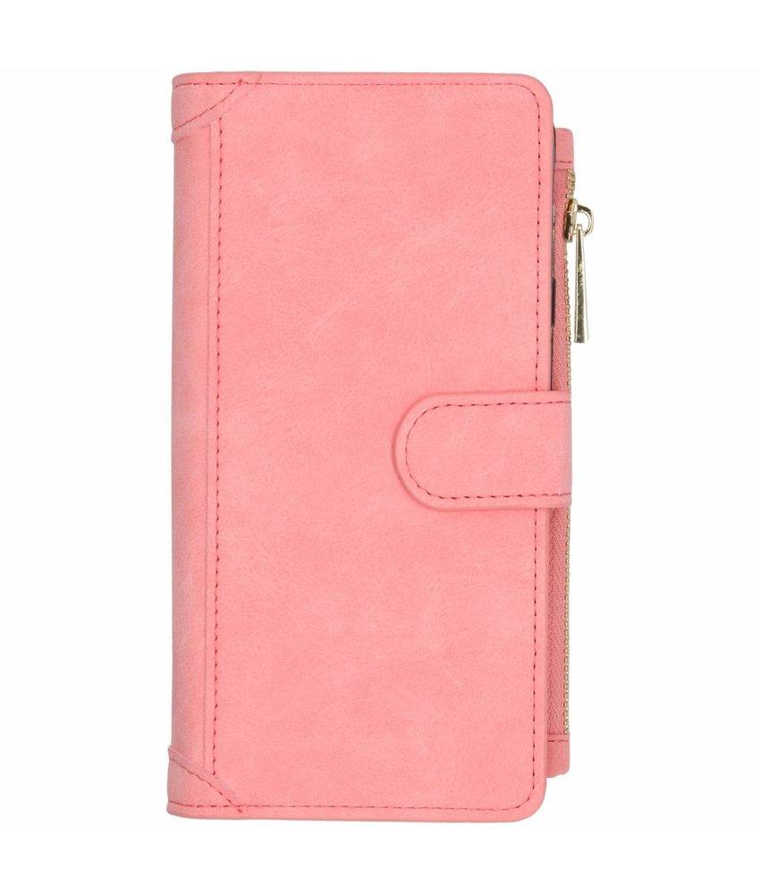Roze luxe portemonnee hoes Samsung Galaxy J4 Plus