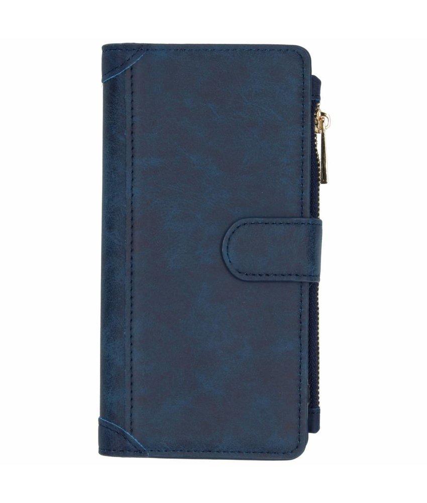 Blauw luxe portemonnee hoes Samsung Galaxy J4 Plus