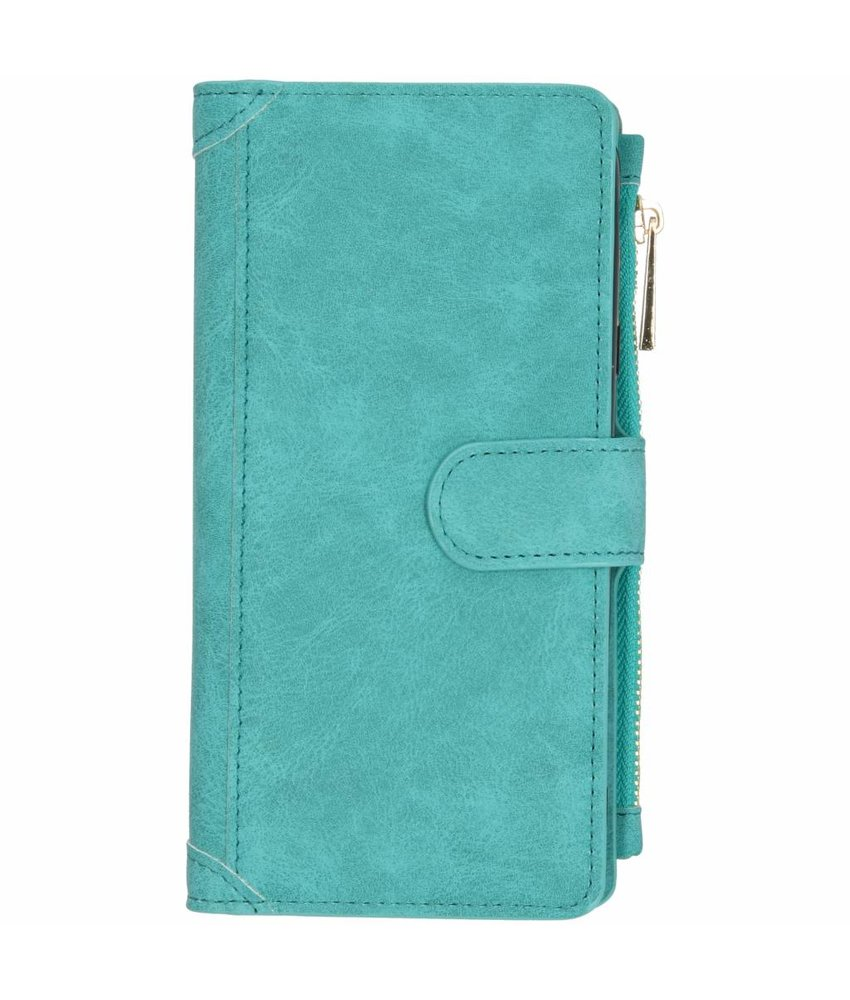 Turquoise luxe portemonnee hoes Samsung Galaxy J4 Plus