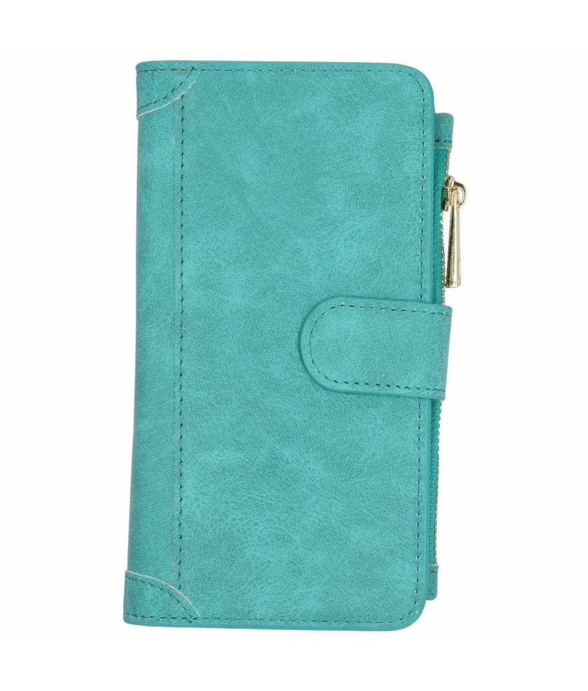 Turquoise luxe portemonnee hoes Samsung Galaxy J6