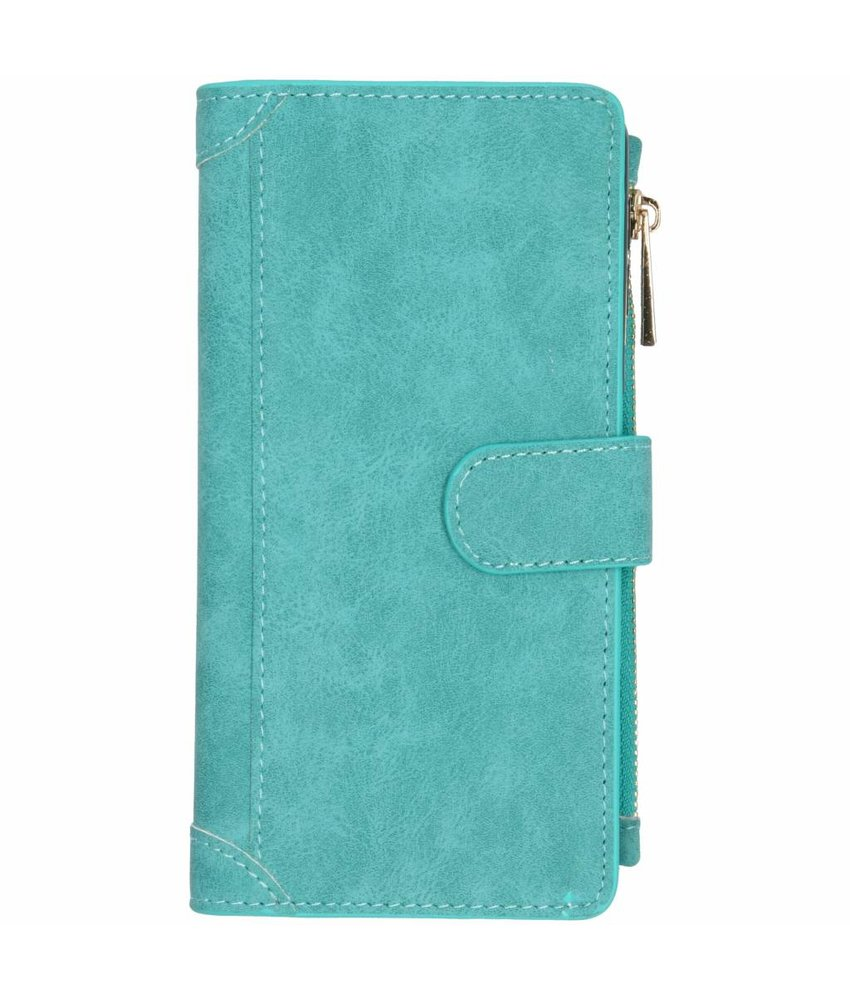 Turquoise luxe portemonnee hoes Samsung Galaxy A7 (2018)