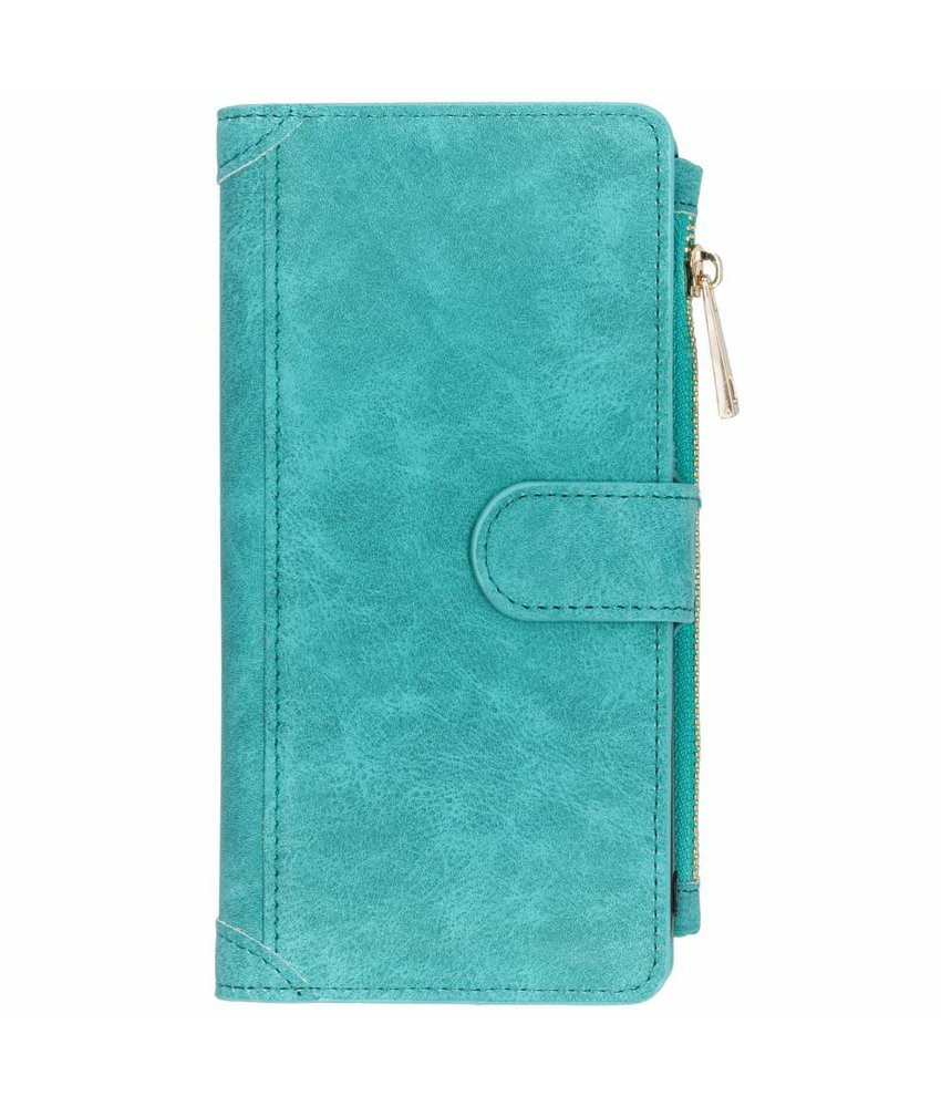 Turquoise luxe portemonnee hoes Samsung Galaxy J6 Plus