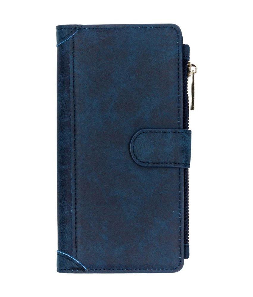 Blauw luxe portemonnee hoes Samsung Galaxy J6 Plus