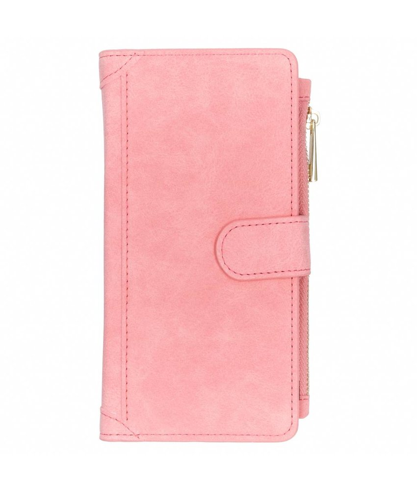 Roze luxe portemonnee hoes Samsung Galaxy J6 Plus