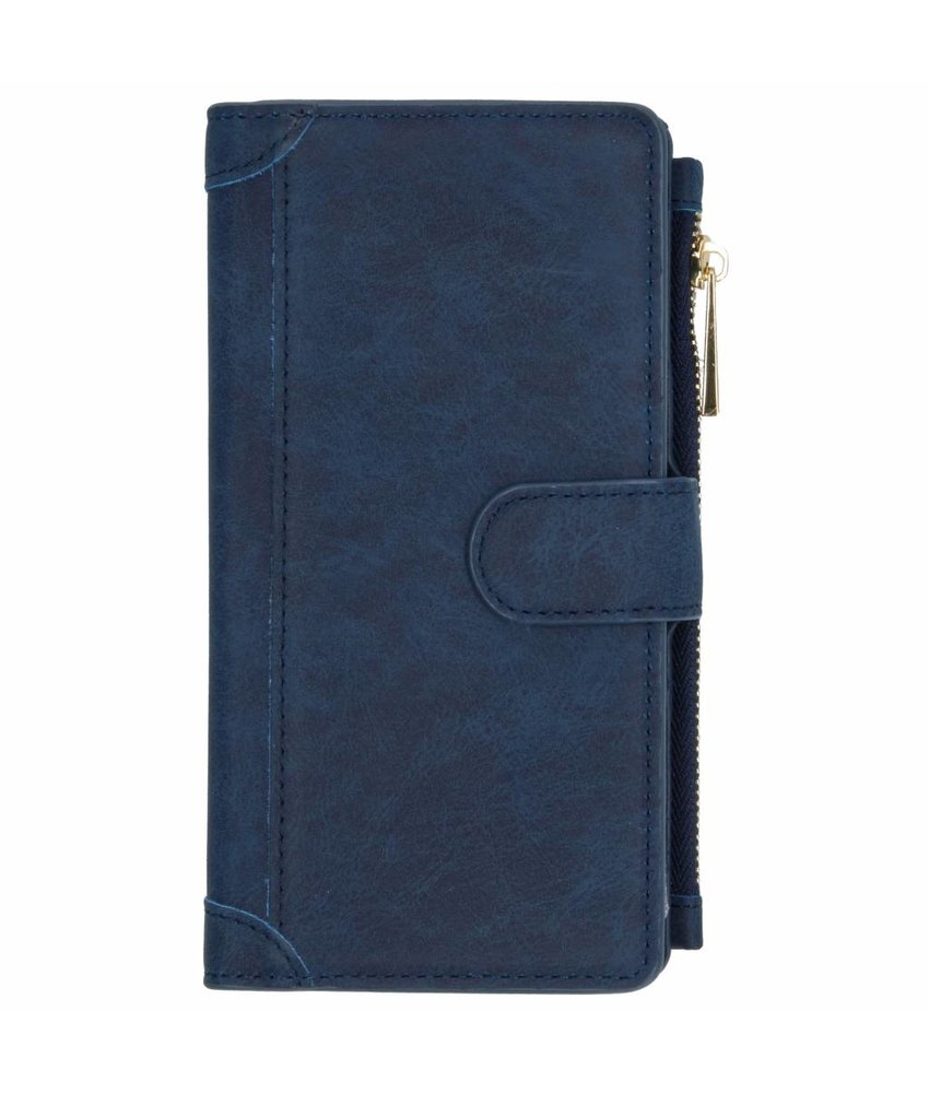 Donkerblauw luxe portemonnee hoes Samsung Galaxy A7 (2018)