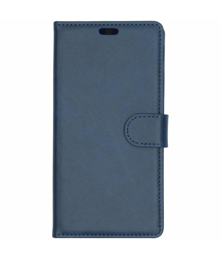 Mat Blauw lederen booktype hoes Samsung Galaxy J6 Plus