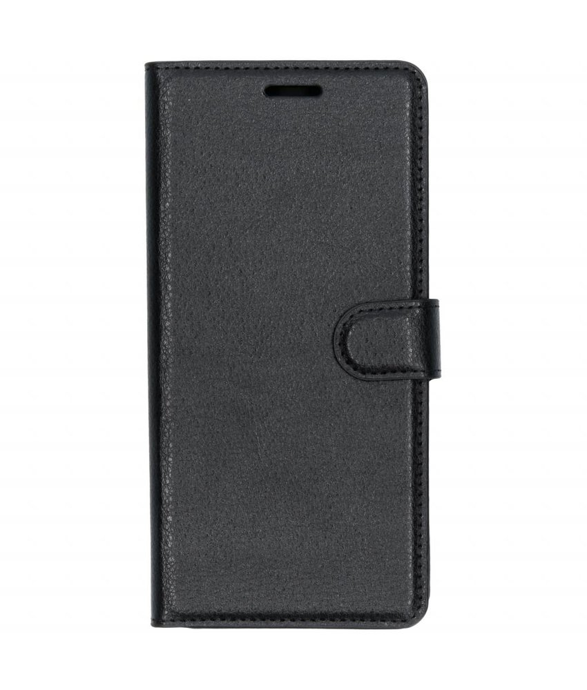 Zwart litchi booktype hoes Samsung Galaxy J4 Plus