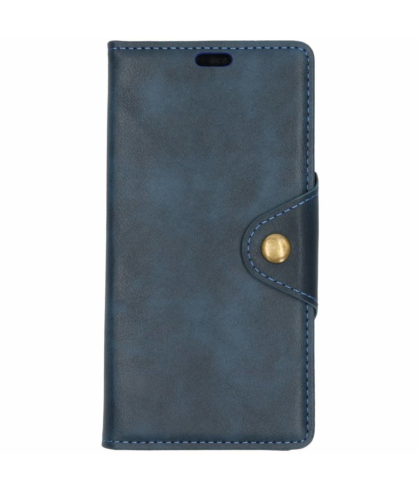 Blauw button booktype hoes Huawei Mate 20 Pro