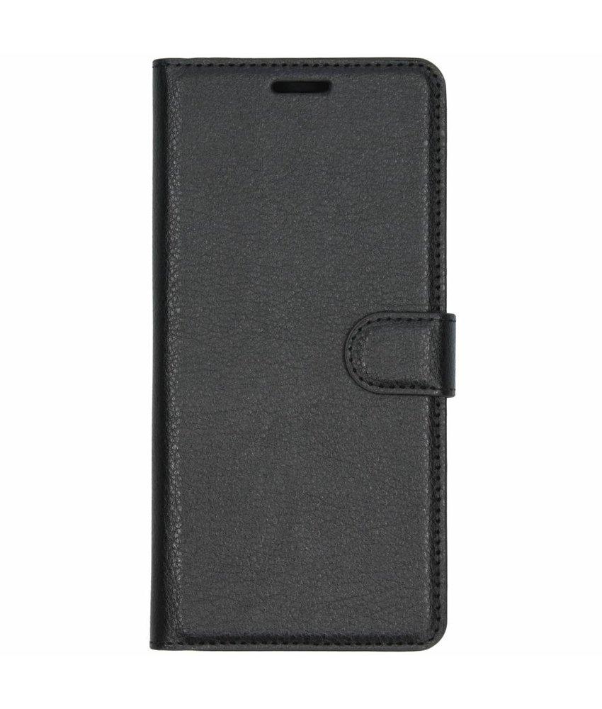 Zwart litchi booktype hoes Samsung Galaxy J6 Plus