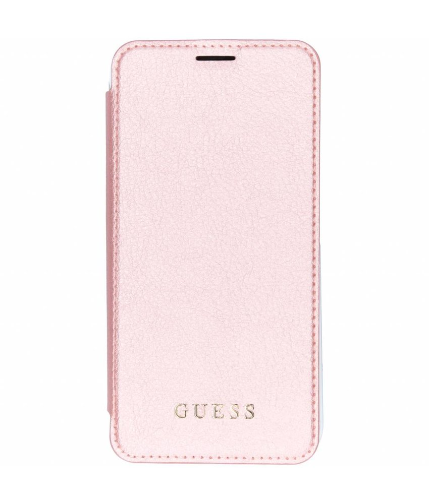 Guess Roze Transparant Back Foliocase iPhone Xs Max