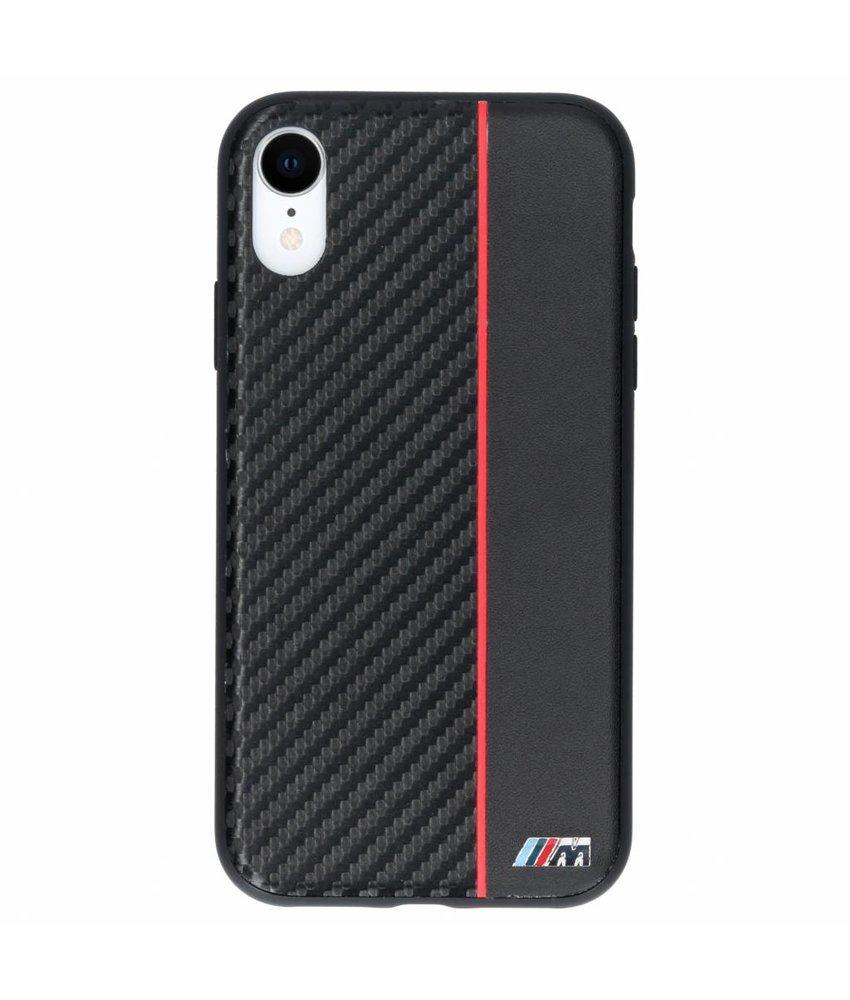 BMW Zwart / Rood M Line Carbon Hard Case iPhone Xr