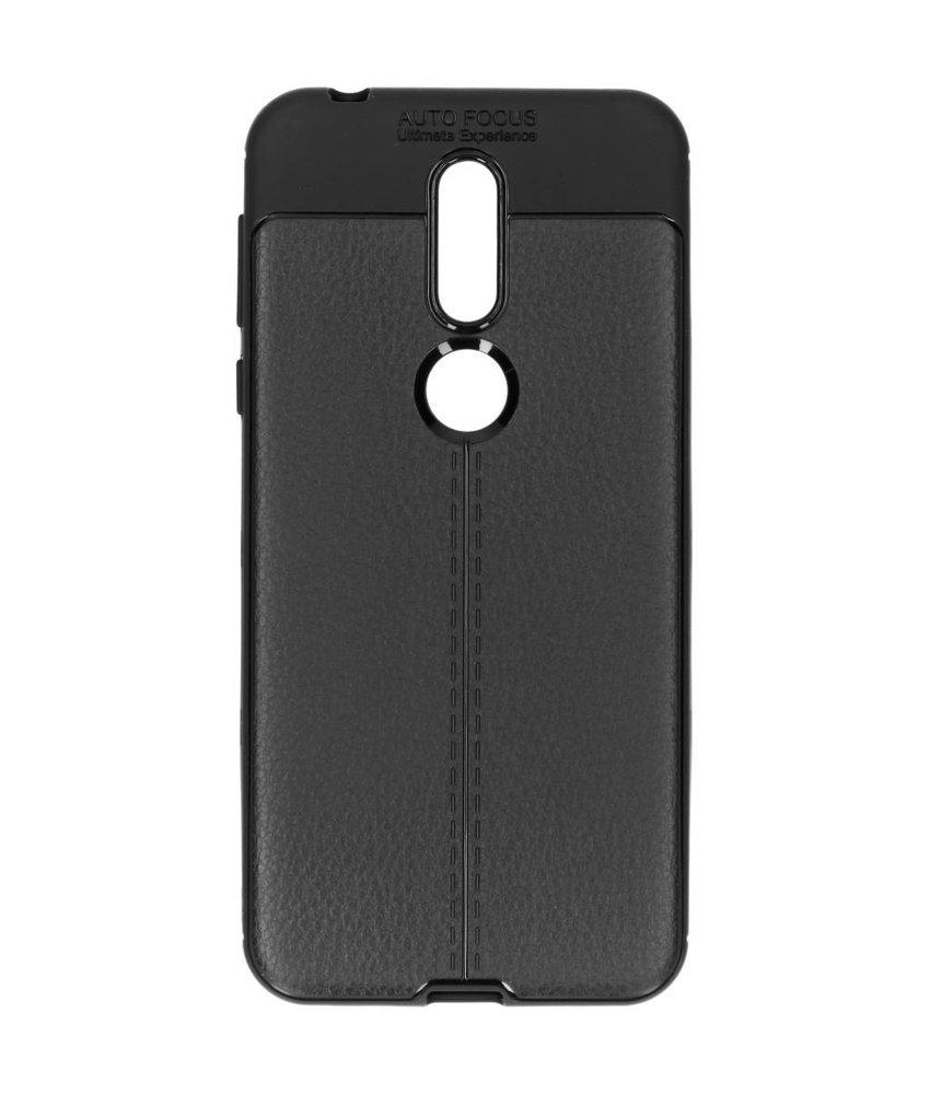 Zwart lederen siliconen case Nokia 7.1